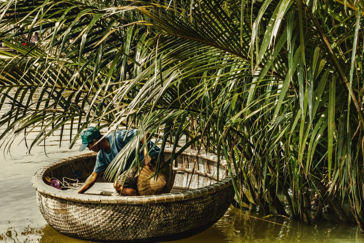 Fisher man in a Basket boat in Vietnam