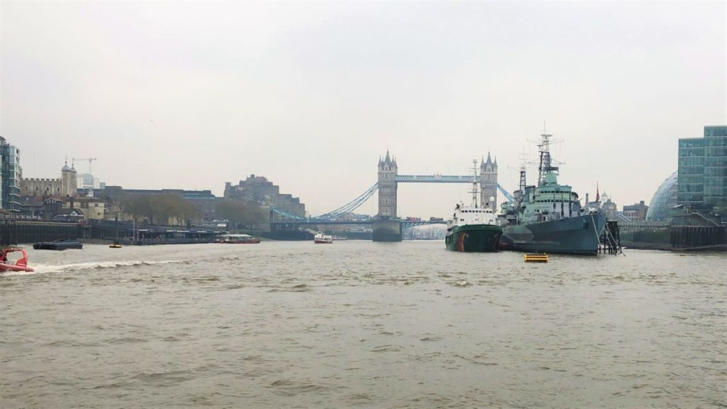 Ships cross the Tower bridge