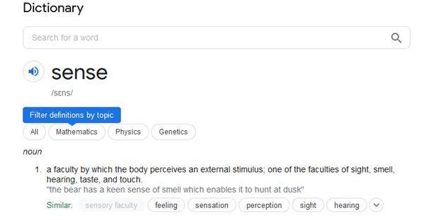 Definition of sense as per google